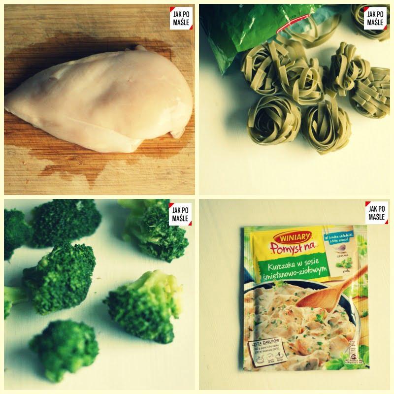 kurczak w sosie śmietanowym z brokułem