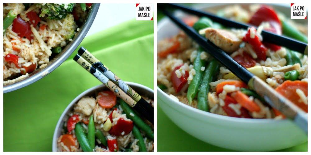 smażony ryż z kurczakiem i warzywami 6