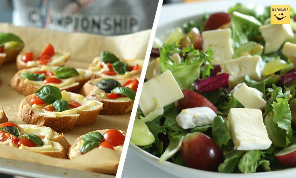 sałatka i grzanki z serem pleśniowym