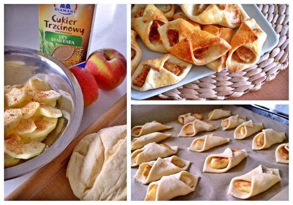 ciasteczka krucho-drożdżowe z jabłkami